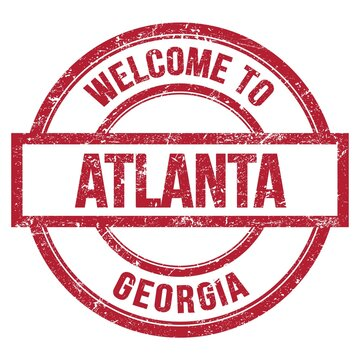 WELCOME TO ATLANTA - GEORGIA, words written on red stamp