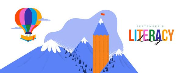 Fototapeta Literacy Day card pencil book mountain landscape obraz