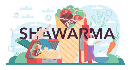 Fototapeta Shawarma typographic header. Chef cooking delicious street food obraz