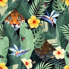 Obraz Seamless pattern with tropical flowers and jaguar - fototapety do salonu