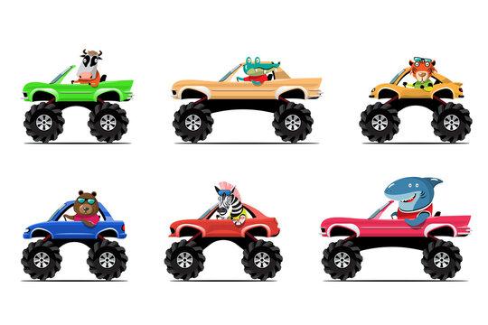 Animal driver, pets vehicle and cow, crocodile, alligator, tiger, bear, zebra, shark,  happy in car.