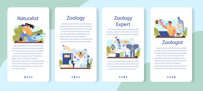 Zoologist mobile application banner set. Scientist exploring and studying fauna