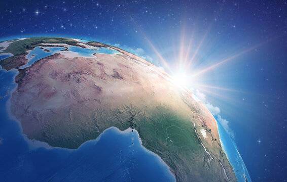 Sunrise through clouds, upon a high detailed satellite view of Planet Earth, focused on Africa. 3D illustration - Elements of this image furnished by NASA