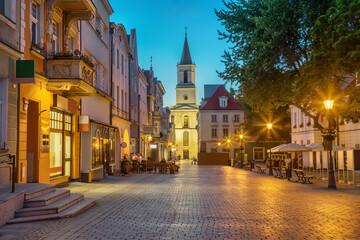 Obraz Church of Our Lady of Czestochowa at dusk situated on Stary Rynek square in Zielona Gora, Poland - fototapety do salonu