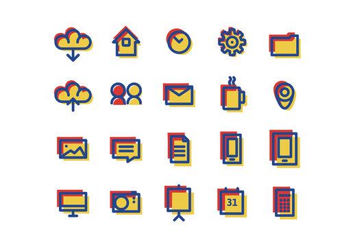 Duo Color Web Icons Set