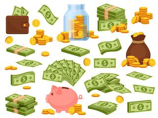 Obraz Cartoon money bag and piles. Piggy bank, banknote packs, wallet with dollar bills, gold stacks and sack with coins. Cash savings vector set - fototapety do salonu