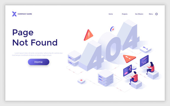 Vector Isometric Landing Page Template