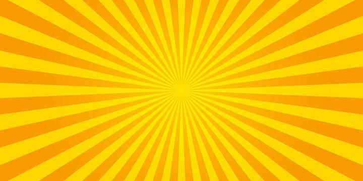 Sunburst retro sun rays yellow background. Abstract summer yellow comic illustration. Vintage pop art radial yellow texture. Stock vector
