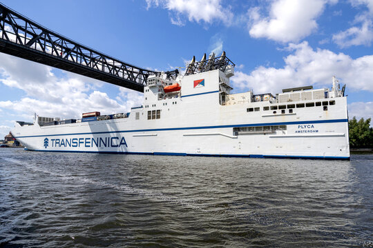 OSTERRÖNFELD, GERMANY - JUNE 13, 2021: Transfennica Trafexpress-class ConRo vessel PLYCA in the Kiel Canal