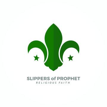 Slipper of Prophet Muhammad Symbol with Crescent Star Icon. Islamic Logo design. Vector Illustration.