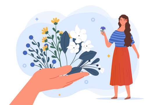 Herbal medicine concept. A large hand holds out various medicinal plants to the girl. Traditional medicine and homeopathy. Cartoon modern flat vector illustration isolated on a white background
