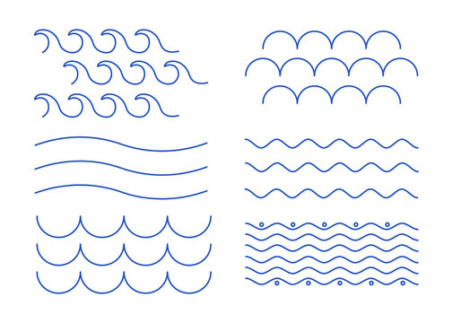 Set of line. Abstract waves and zigzags of blue color for websites and printing. Minimalistic ornaments. Water icons and stickers. Flat line art design elements isolated on a white background