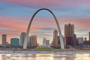 Fototapeta Downtown St. Louis city skyline, cityscape of Missouri in USA obraz