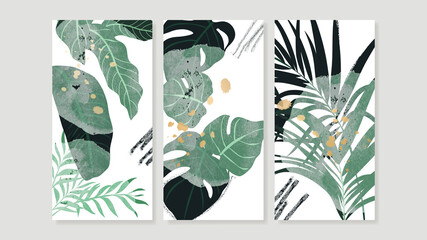 Tropical botanical triptych wall art vector. Abstract art background with palm leaves , Monstera leaf, Golden line drawing  and watercolor hand painting design for wall decor, poster and wallpaper.