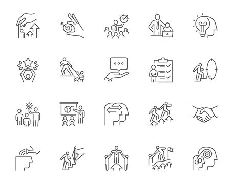 Set of mentoring related line icons. Contains such icons as personal development, experience exchange, support, etc. Editable stroke.