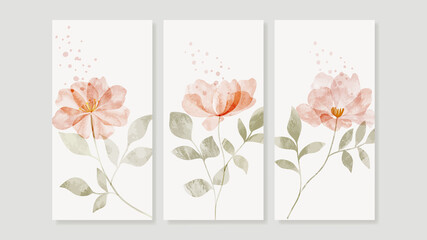 Obraz Flower watercolor art triptych wall art vector. Abstract art background with sweet orange and pink Floral Bouquets, Wildflower   and leaf  hand paint design for wall decor, poster and wallpaper. - fototapety do salonu