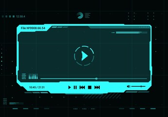 Fototapeta HUD video and sound player futuristic screen interface. Future multimedia system, Ui design element or virtual reality hologram window with media player vector neon blue frame, buttons and data info obraz