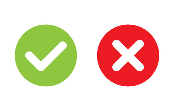 Tick and cross signs. Green checkmark OK and red X icons vector. Circle symbols YES and NO button for vote, decision, web, logo, app, UI. illustration.