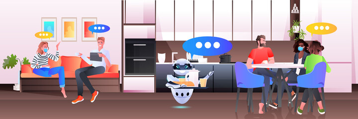 Fototapeta modern robot waiter serving food to businesspeople in office artificial intelligence technology concept obraz