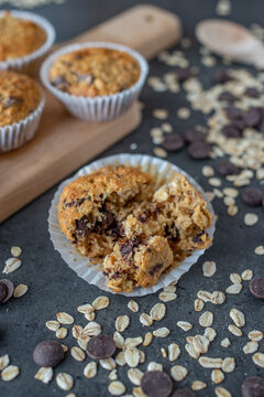 sweet home made whole grain muffins with chocolate chips
