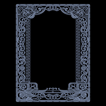 Scandinavian Viking design. Frame in Ancient Celtic Scandinavian style with floral ornaments and winged dragons