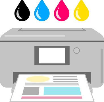 プリンターと4色のインクのイメージ