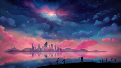 Fototapeta Magician, wizard standing in landscape. City and hill reflection on water with overcast night sky. Digital painting, 3D rendering obraz