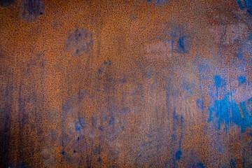 Hintergrund Wand abstrakt Metallplatte rostig rot blau