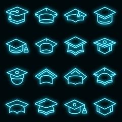 Obraz Graduation hat icons set. Outline set of graduation hat vector icons neon color on black - fototapety do salonu