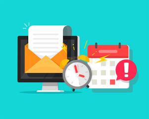 Fototapeta Deadline online task concept notified via calendar alarm notice and email message flat cartoon vector illustration, desktop computer project reminder important attention information received obraz