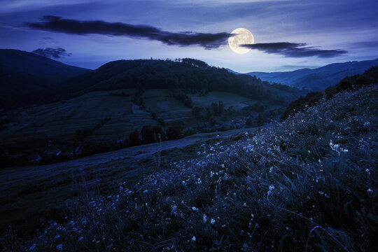 rural valley landscape at night. beautiful carpathian nature scenery with grassy hills, fields and meadows between forested hills in full moon light. small village in the distance