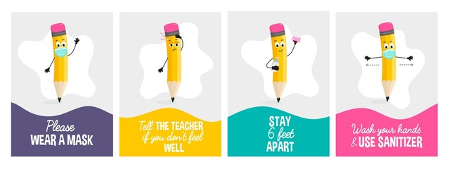 Obraz Back to School Covid Safety poster set.After pandemic school safety concepts with funny pencil character. Flat style vector illustration. Wear a mask. Wash hands and use sanitizer. Stay 6 feet apart. - fototapety do salonu