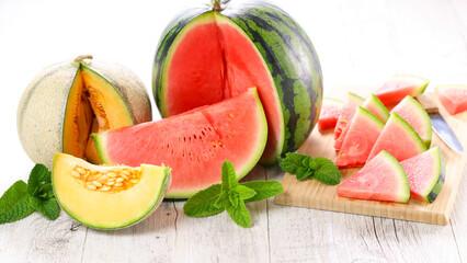 fresh watermelon and melon slices