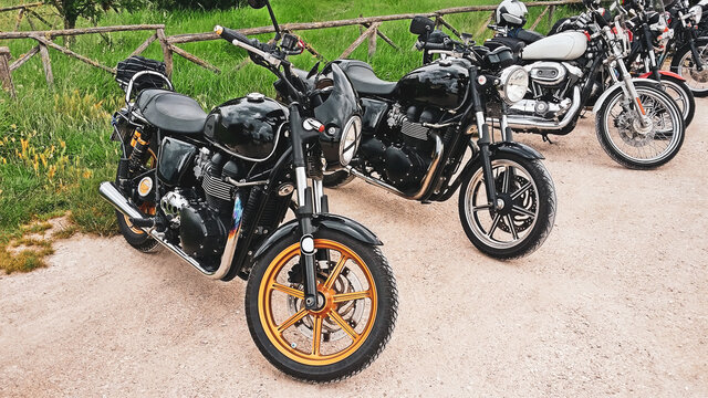 motorcycles parked during the road trip