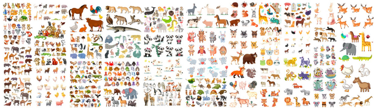 A large set of animals of the world on a white background.A large set of animals of the world on a light background.Wild Animal Characters