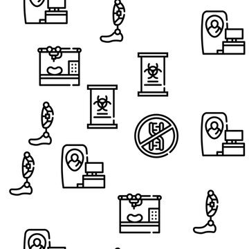 Biotech Technology Vector Seamless Pattern Thin Line Illustration