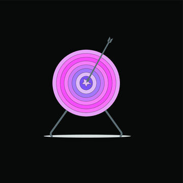 Pastel color of target and arrow,on black background
