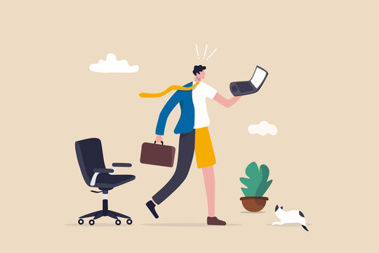 Hybrid work after covid-19 crisis, employee choice to work remotely from home or on site office for best productivity and result concept, businessman with hybrid cloth work both from home and office.
