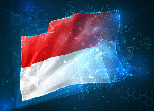Monaco, Indonesia, vector 3d flag on blue background with hud interfaces