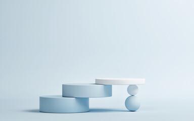 Obraz Pedestal for product presentation, blue background, 3d render, 3d illustration - fototapety do salonu