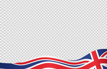 Fototapeta Waving flag of  UK isolated  on png or transparent  background,Symbols of  United Kingdom,Great Britain,template for banner,card,advertising ,promote, TV commercial, ads, web, vector illustration obraz