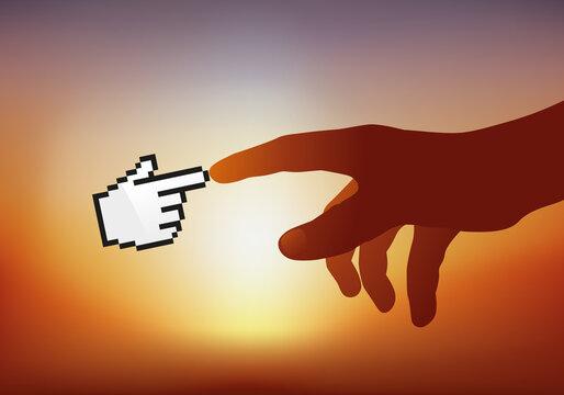 Concept de la création informatique avec une main humaine qui pointe un doigt contre la main stylisée du web pour symboliser la connexion.