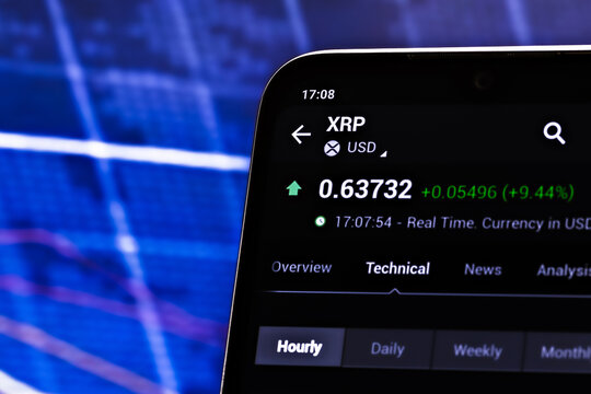 Editorial photo on XRP theme.  Illustrative photo for news about XRP - a cryptocurrency by Ripple