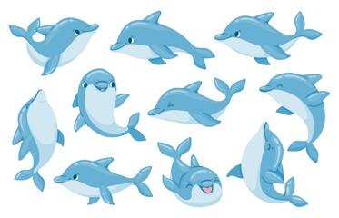 Obraz Dolphin characters. Funny dolphins jump and swim poses. Oceanarium show mascot underwater animal. Cartoon bottlenose baby dolphin vector set - fototapety do salonu