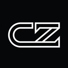 Fototapeta CZ Logo monogram with line style negative space obraz