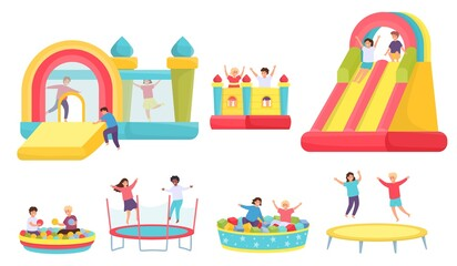 Fototapeta Children jumping on trampolines. Cartoon boys and girls in bouncy castle and inflatable trampoline. Kids in soft pool with balls vector set obraz