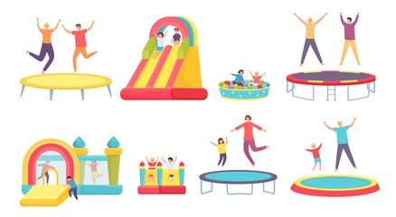 Fototapeta People jump on trampoline. Happy adults, kids and family bounce on trampolines, inflatable house and slide. Active entertainment vector set obraz
