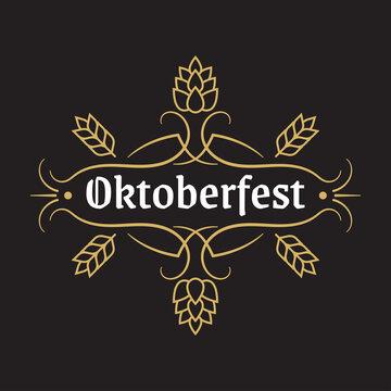 Oktoberfest vintage design logo, label or badge with retro frame. Beer fest banner or poster template. Geman October festival emblem. Vector illustration.