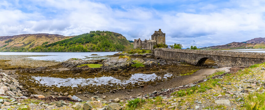 A view from the shore of Loch Duich towards Loch Alsh, Scotland on a summers day