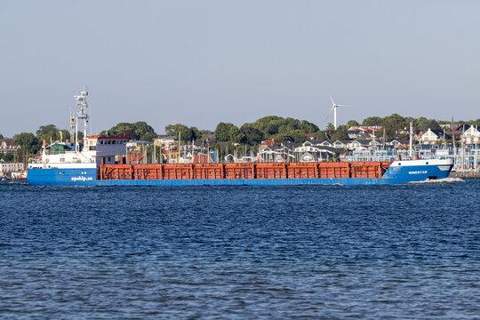 KIEL, GERMANY - JUNE 13, 2021: general cargo vessel WINDSTAR in the Kiel Fjord